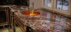 Столешница для кухни из мрамора Rosso Levante